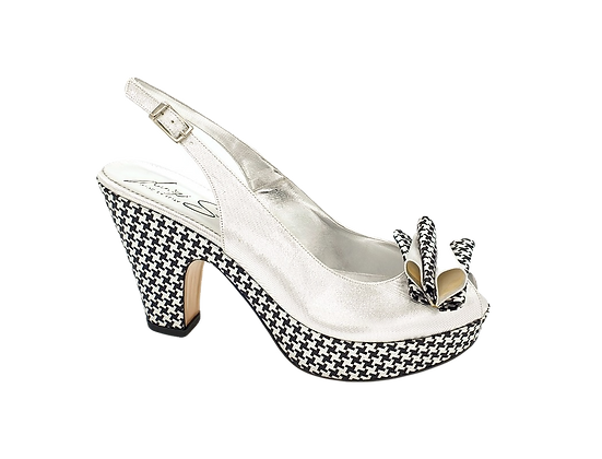 Tina, trendy chess platform wedges in silver
