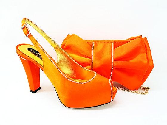 Diane, Mary Shoes diamante trim high-heel orange bridal shoes and bag set