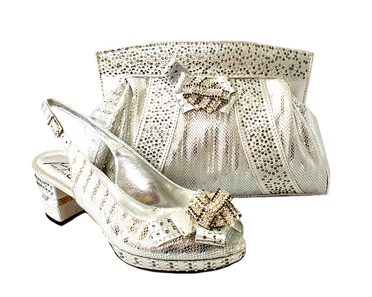 Sharon, Salgati silver low heel wedding shoes and matching bag set
