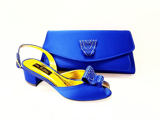 Poppy, blue Mary Shoes low chunky heel wedding shoes and bag set