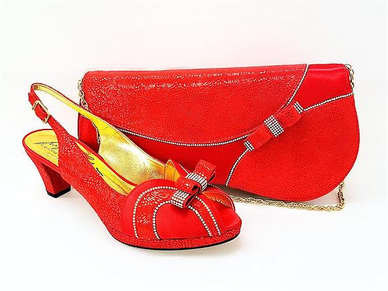 Sheila, Salgati red low heel platform shoes and bag wedding set