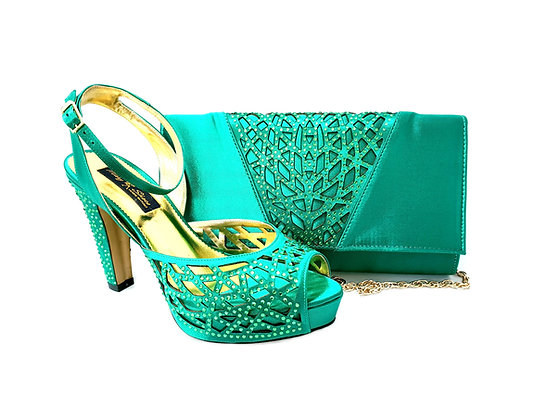 Alexa, Mary Shoes green laser-cut high heel wedding shoes and matching bag set