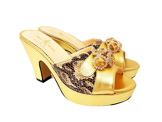 Gold Mary Shoes croc-effect leather sandals