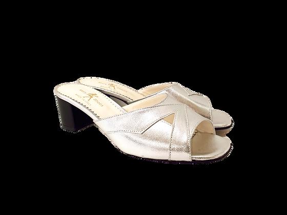 Barbara, silver mid block heel sandals