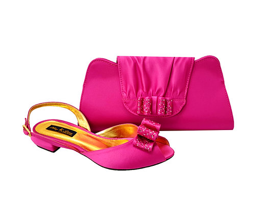 Ava, Mary Shoes pink very low wedding shoes and matching bag