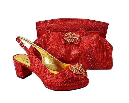 Sharon, Salgati red low heel wedding shoes and matching bag set