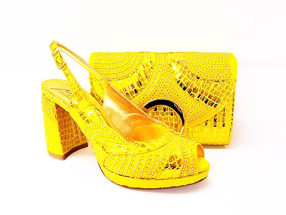 Lizzy, Salgati yellow block heel wedding shoes and bag set