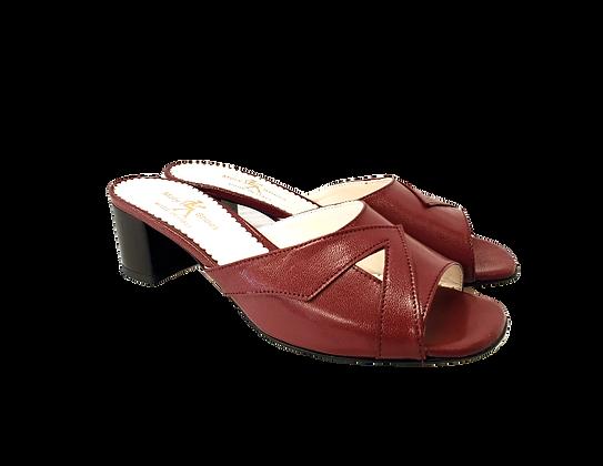 Barbara, burgundy mid block heel sandals