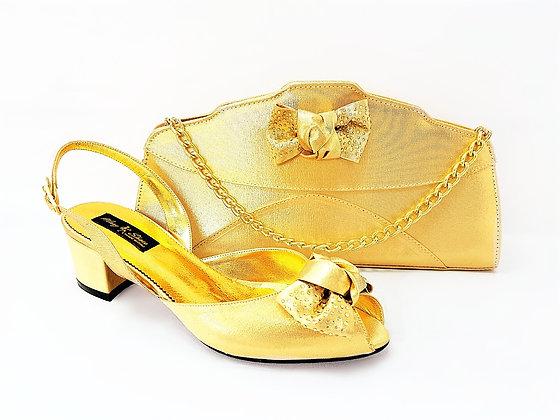 Verona, Mary Shoes gold low chunky heel wedding set
