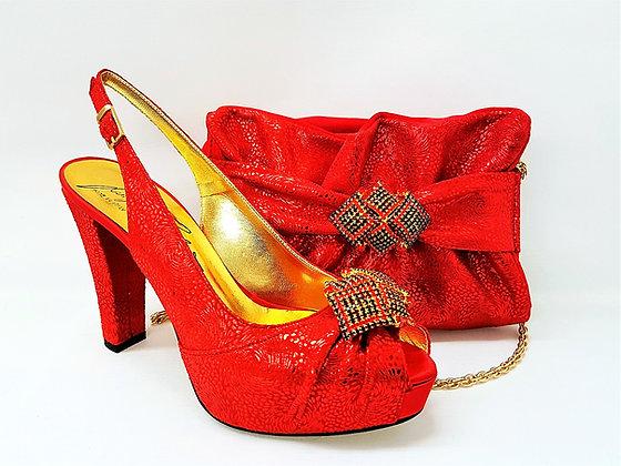 Pippa, Salgati red high heel platform shoes and matching set