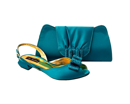 Ava, Mary Shoes teal very low wedding shoes and matching bag