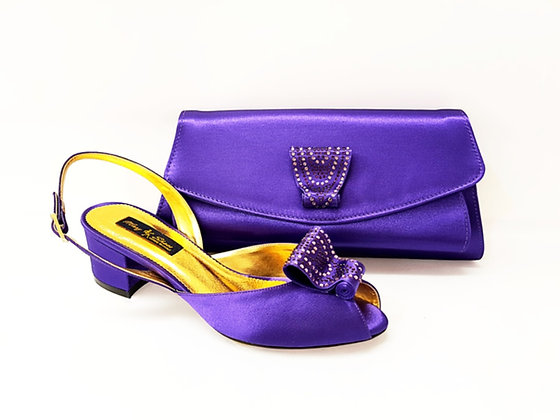 Poppy, purple Mary Shoes low chunky heel wedding shoes and bag set
