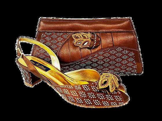 Chiara, brown stone adorned low heel wedding shoes and bag