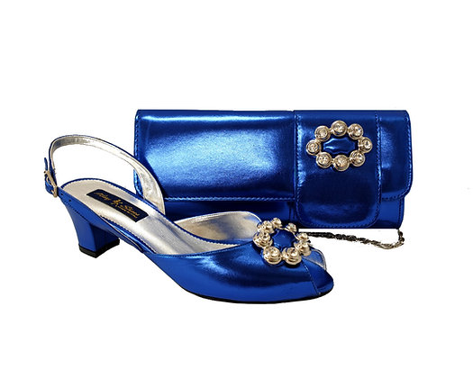 Francesca, Mary Shoes blue low heel wedding shoes and matching bag set