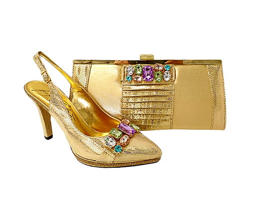 Sophia, Salgati gold mid-height half-shoes and matching bag set