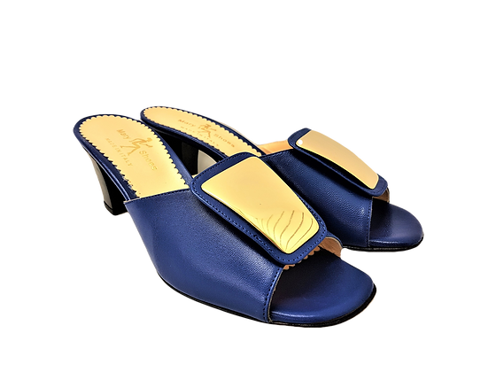 Leyla blue mid-height leather sandals