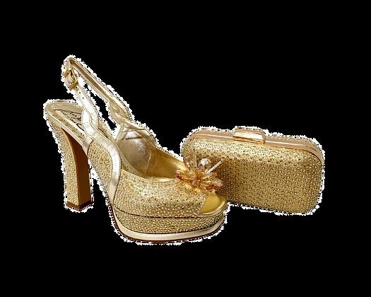 Salgati, Cinderella, gold-crystal shoes and matching bag set