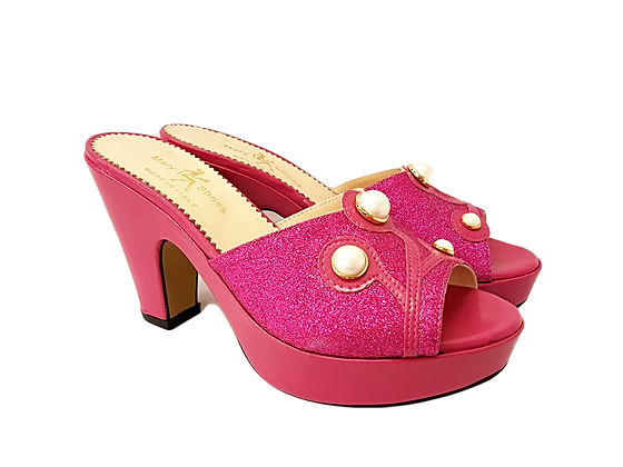 Pink Mary Shoes pearl platform sandals