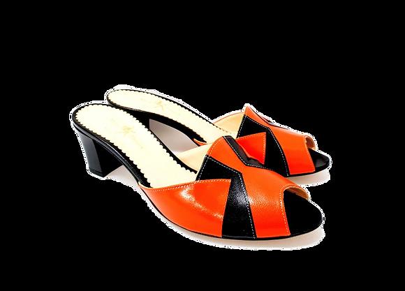 Alice, orange and black mid block heel sandals