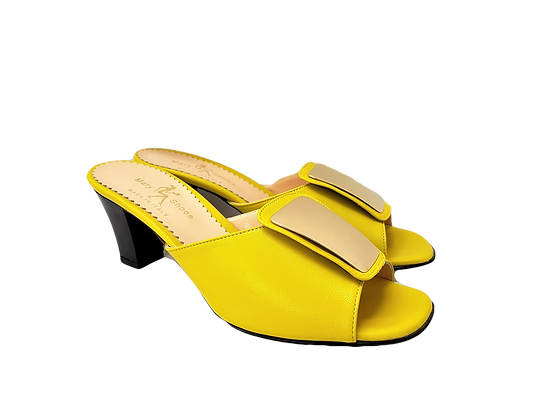 Leyla yellow mid-height leather sandals