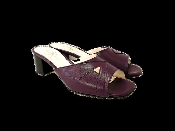 Barbara, purple mid block heel sandals