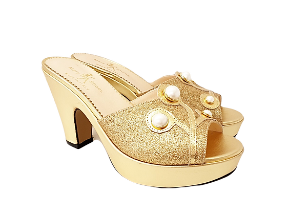 Gold Mary Shoes pearl platform sandals
