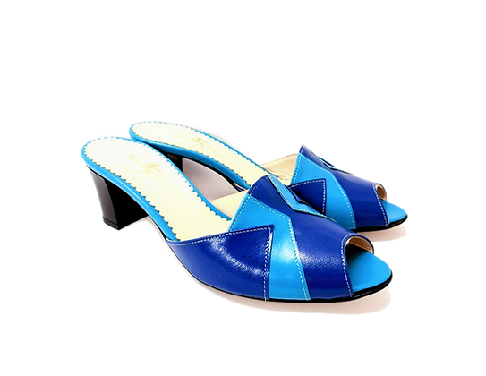 Alice, blue and turquoise mid block heel sandals