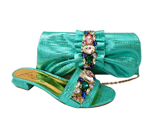 Valerie, jewel embellished mint low wedding sandals and matching bag