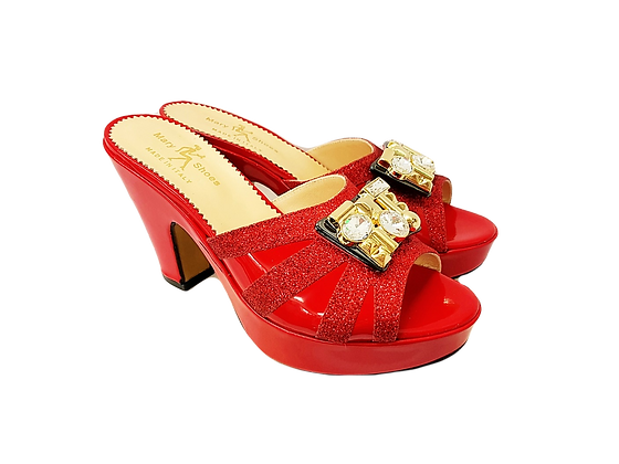 Red Mary Shoes wet-look platform sandals