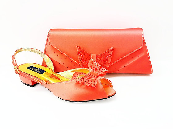 Stella, Mary Shoes coral very low heel wedding shoes and bag set
