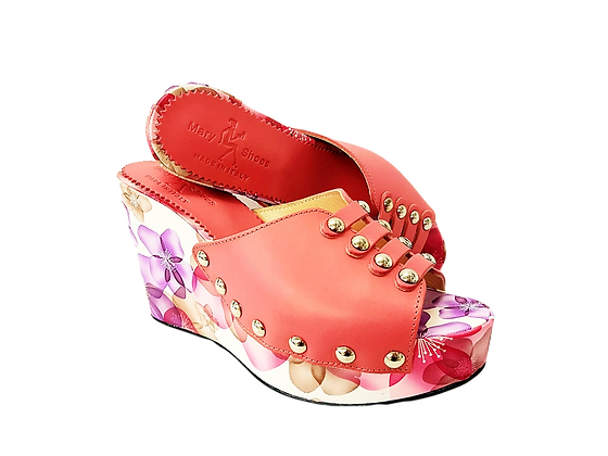Blossom, Mary Shoes blush floral wedge