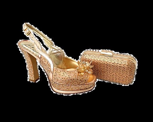 Salgati, Cinderella, rose-gold-crystal shoes and matching bag set