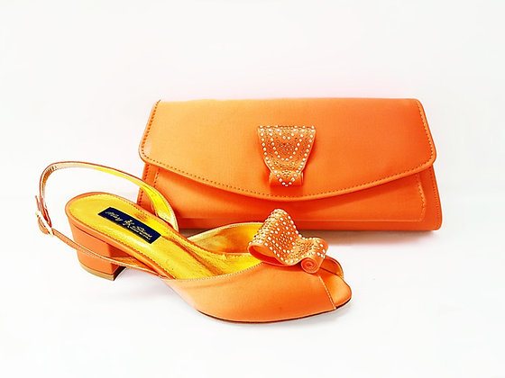 Poppy, peach Mary Shoes low chunky heel wedding shoes and bag set