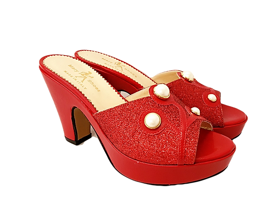 Red Mary Shoes pearl platform sandals