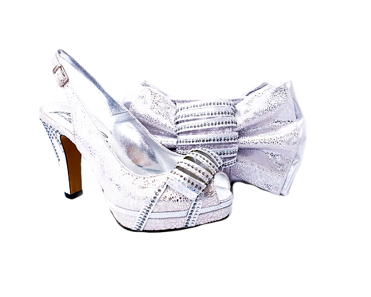 Iris, Salgati silver wedding shoes and matching bag set