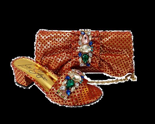Valerie,  jewel embellished red-gold wedding sandals and matching bag