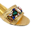 Thumbnail: Valerie, jewel embellished gold low wedding sandals and matching bag