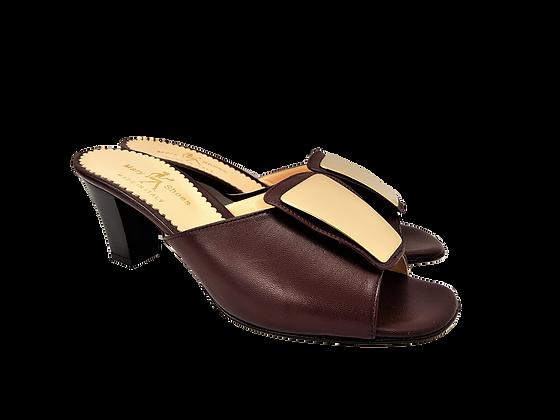 Leyla burgundy mid-height leather sandals