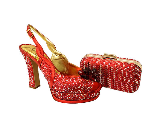 Salgati, Cinderella, red-crystal shoes and matching bag set