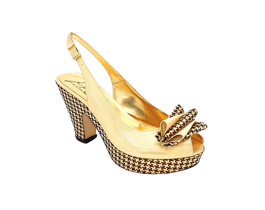 Tina, trendy chess platform wedges in gold and bronze