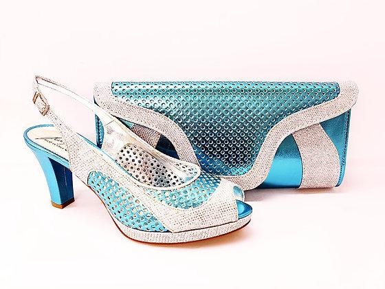Minna, Salgati turquoise laser-cut mid-height wedding set