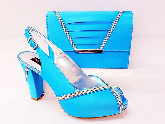 Lucia, turquoise Mary Shoes mid-height platform shoes and matching bag set