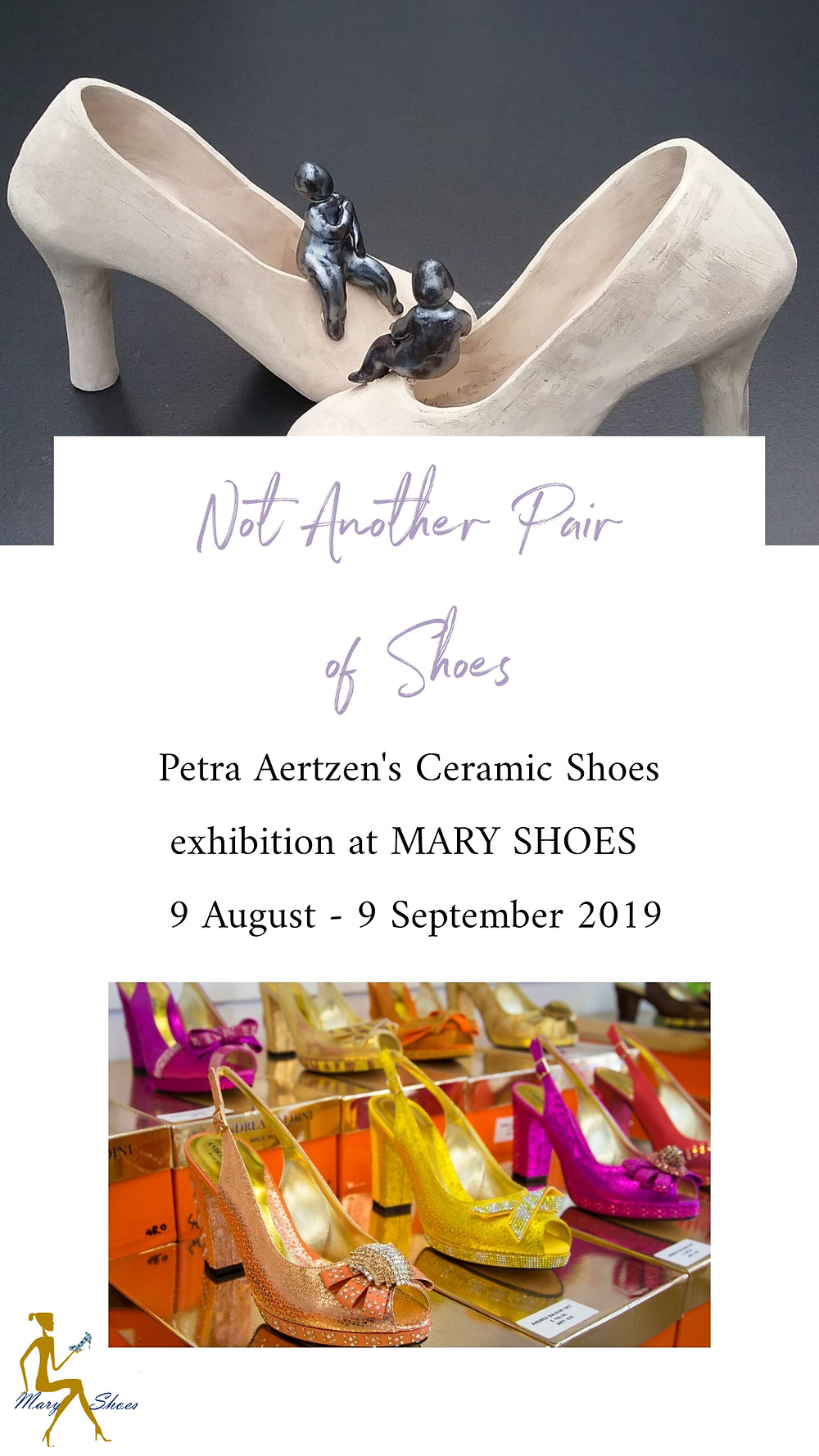 Real size ceramic shoes art show