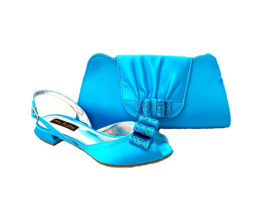 Ava, Mary Shoes turquoise very low wedding shoes and matching bag