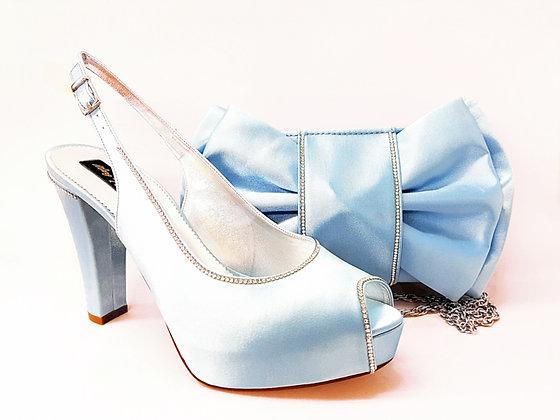 Diane, Mary Shoes diamante trim high-heel sky blue bridal shoes and bag