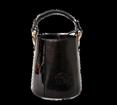 Cerruti black & wet-look  leather Bucket Handbag