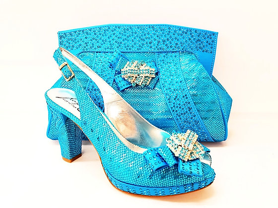 Sharon, Salgati turquoise mid-height platform shoes and bag set