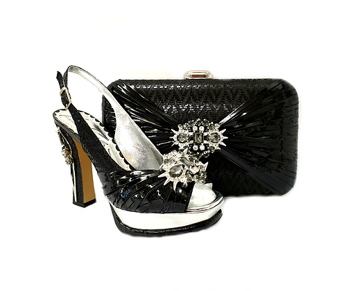 Vogue, Salgati black wedding party shoes and bag set