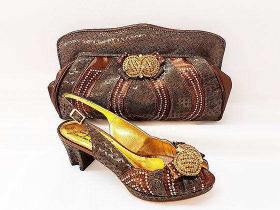 Florence, Salgati brown low heel platform wedding shoes and bag set