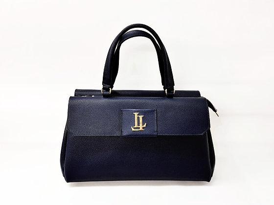 Lavinia Medium Navy Tote Textured Leather Handbag